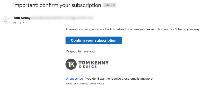 Confirm your subscription email example