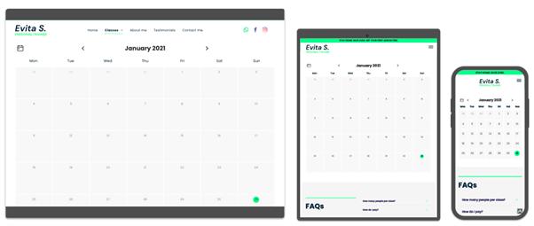 An example of a booking calendar across desktop, tablet and mobile