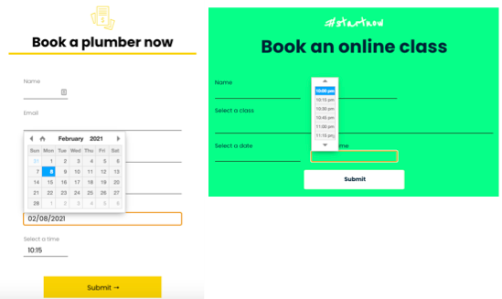 An example of a booking submission form for a plumbing website