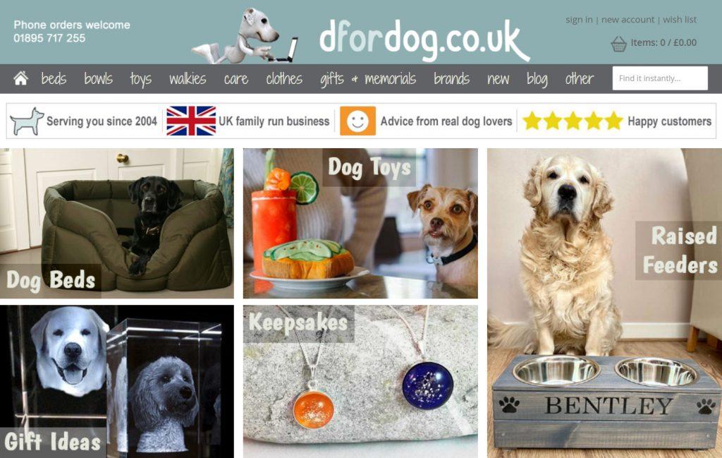 A screenshot of the D for dog website