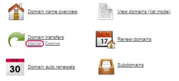 Select Internal Domain transfers