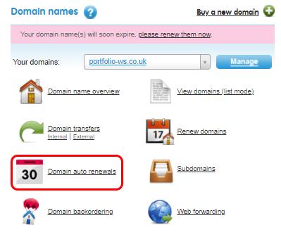 Select Domain auto renewals