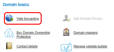 Select Web forwarding