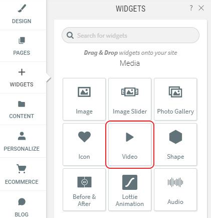 Select Video widget