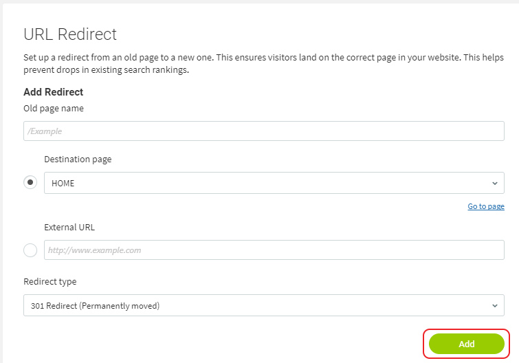 Create redirect