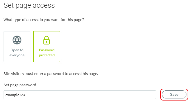 Enter page password