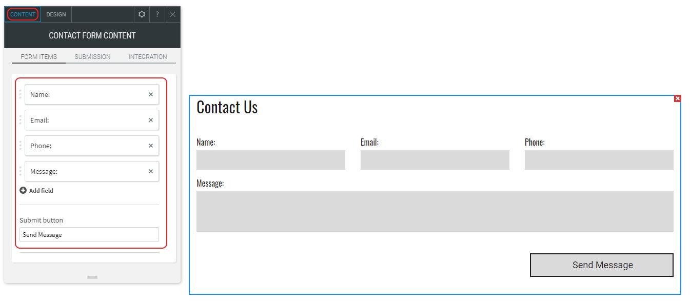 Edit Form content