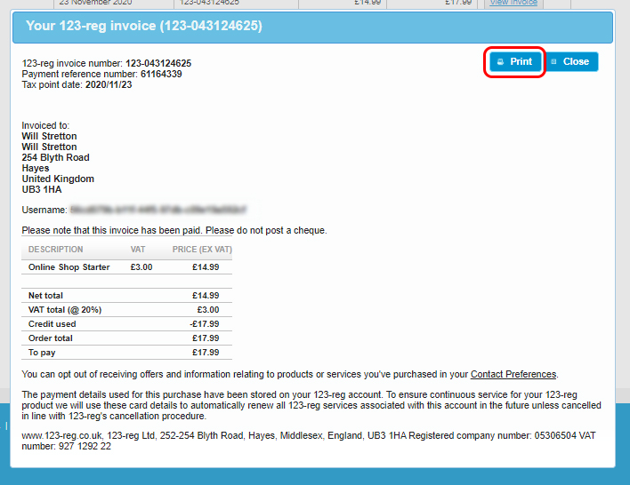 Print invoice