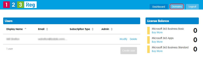 Select Domains tab