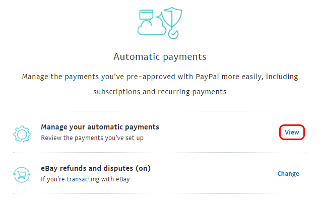 View your automatic payments