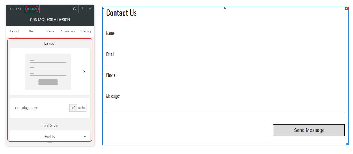Edit Form design