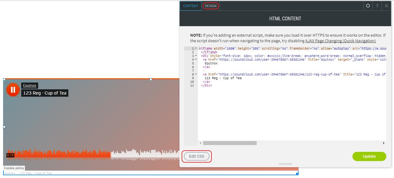 Edit widget design