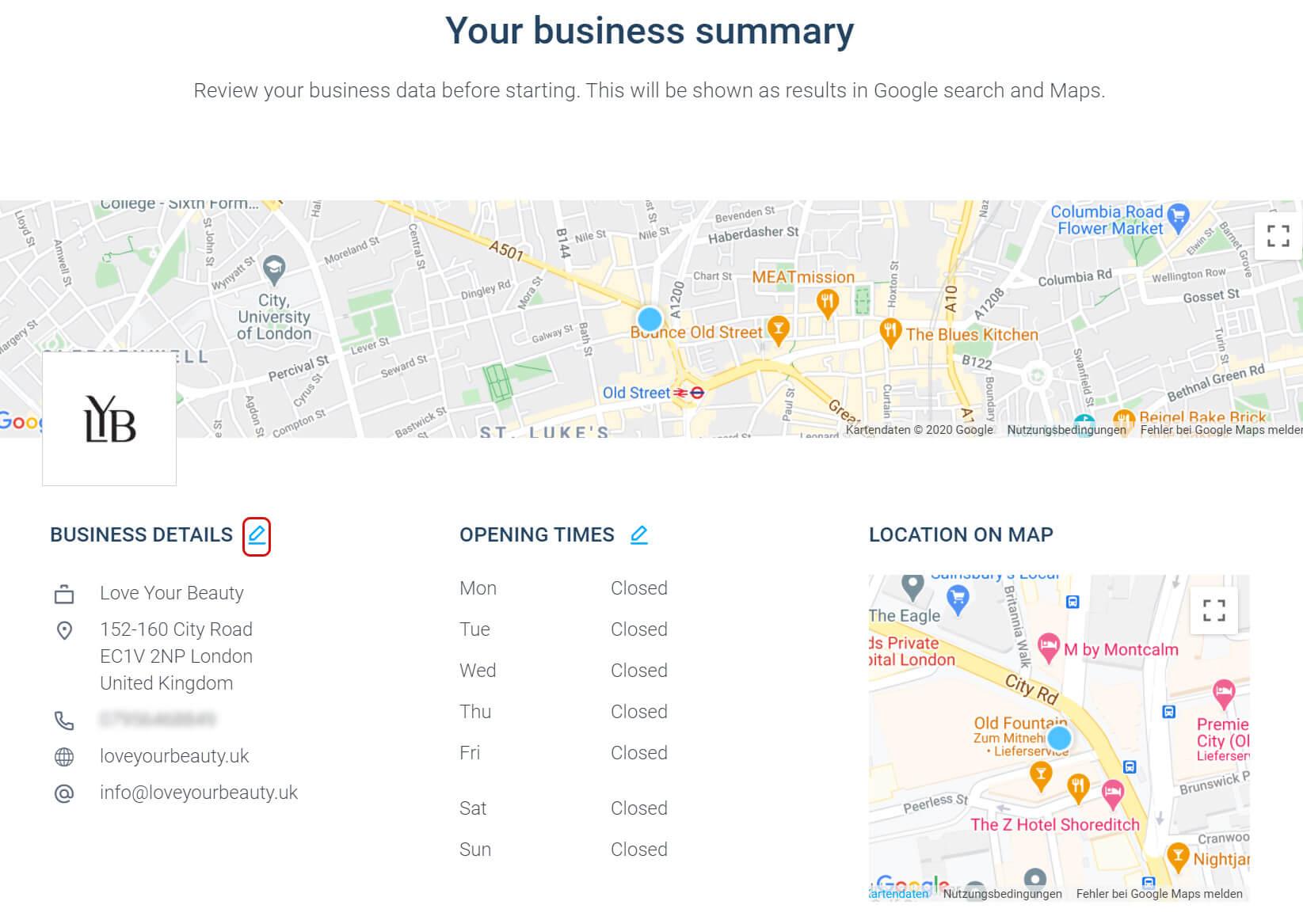 Edit Business details