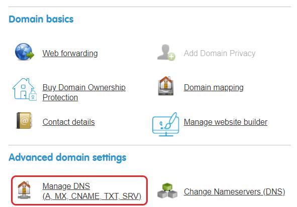 Click Manage DNS