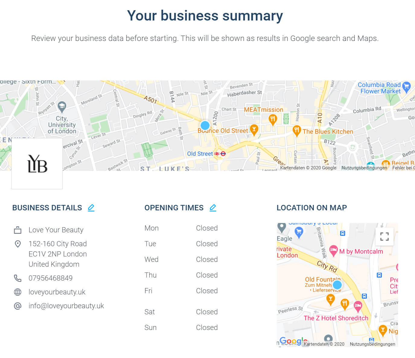 Review your business summary