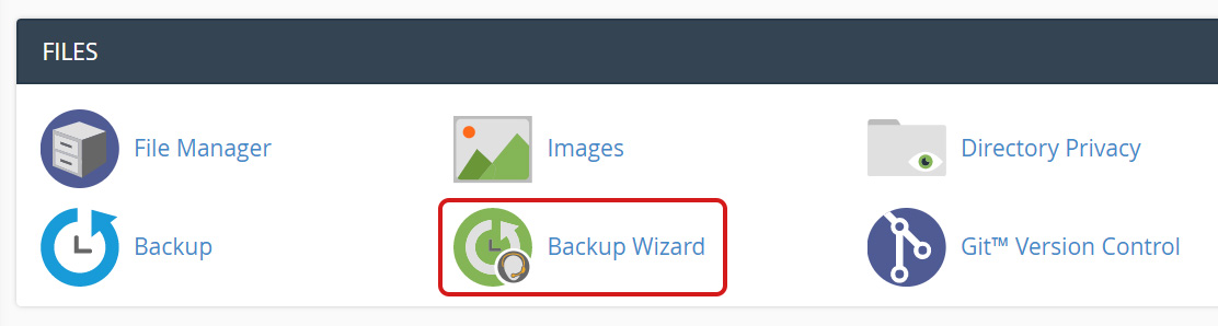 Select Backup Wizard