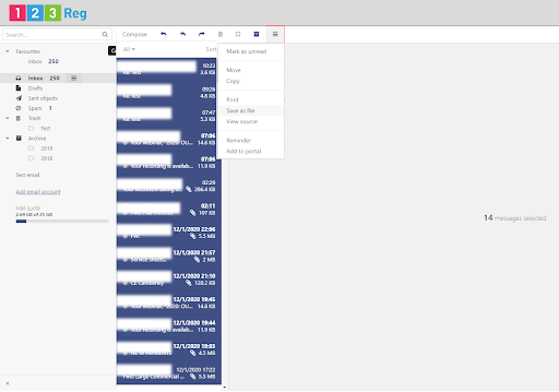 Select multiple emails