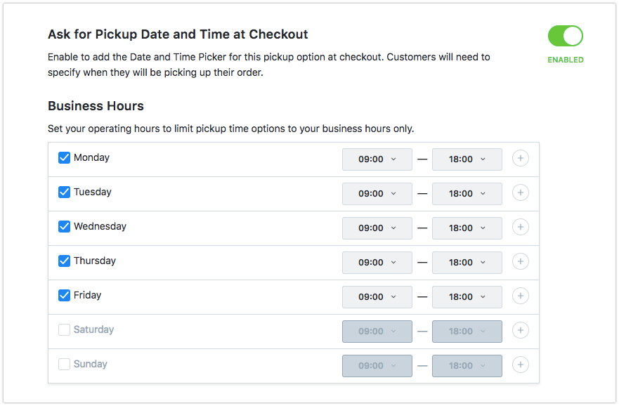 Set your 'Ask for Pickup' date and time settings