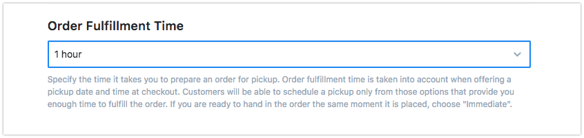Set 'Order Fulfillment Time'