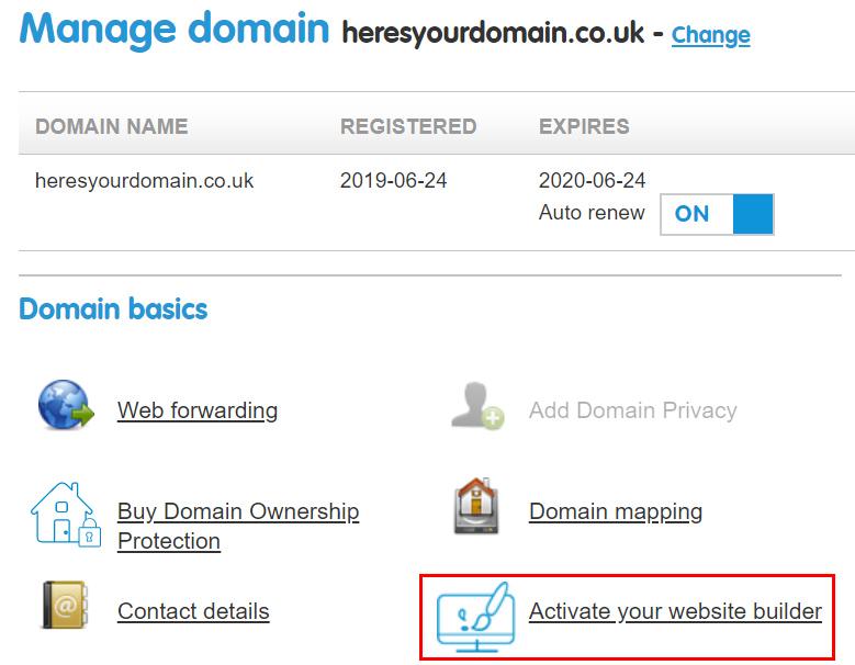 Activate your website builder