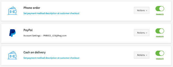Active payment methods