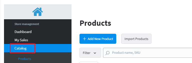 Access your product catalog.