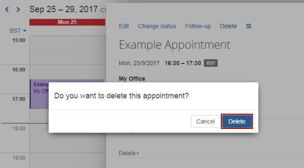 Confirm delete appointment