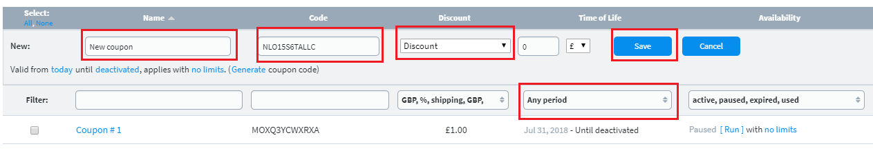 Create a coupon for your customers to use.