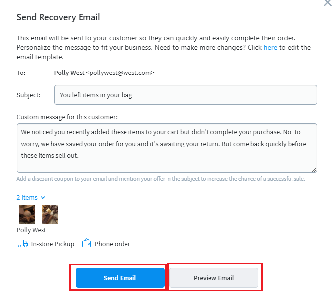 Send a recovery email