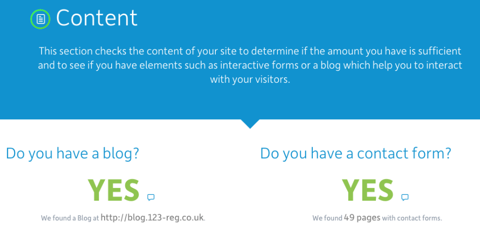 Your website content