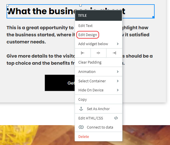 Select Edit Design