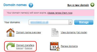 Select Domain transfers