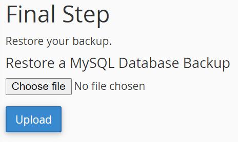 MySQL Upload