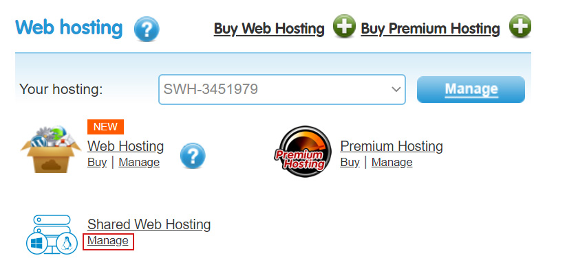Manage Web Hosting