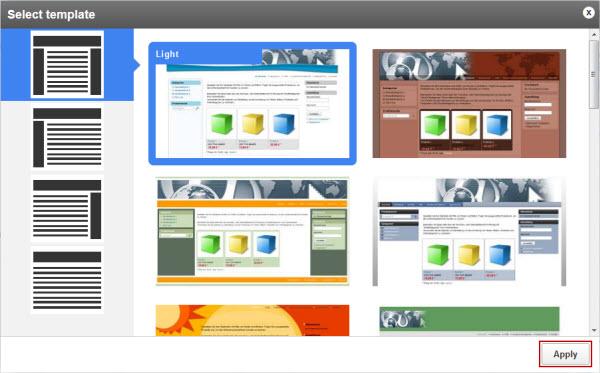 Select design templates