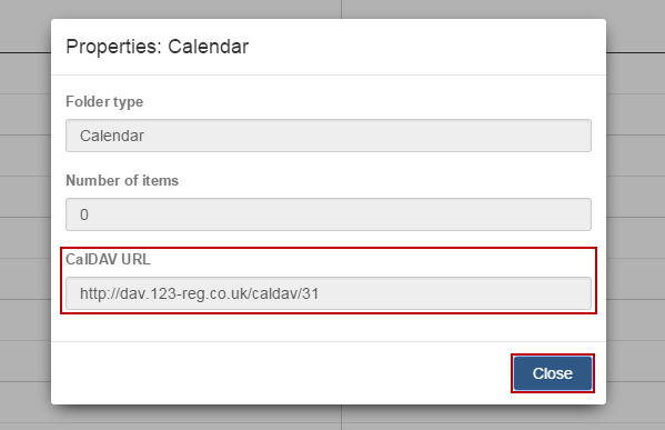 How do I find the URL for my 123 Reg email calendar? | 123 Reg