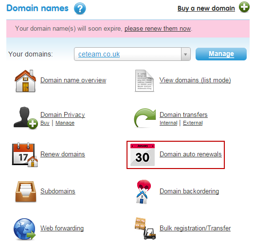Domain auto renewals