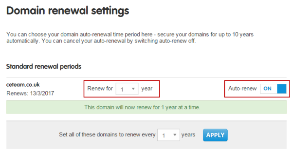 Set your renewal status