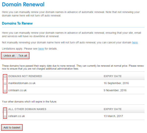 Select domains to renew