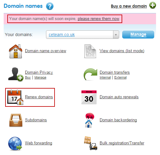 Manually renew domain names