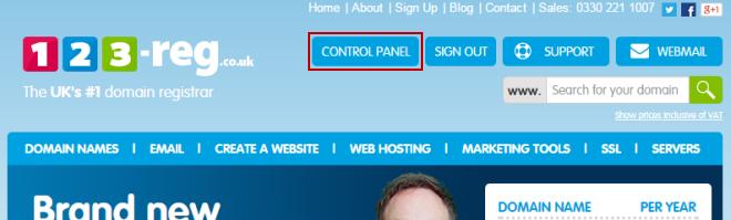 123 Reg Control panel login button