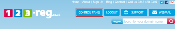 123 Reg Control Panel button