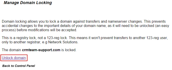 Unlock Domain name