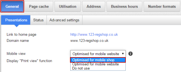 Optimise for mobile shop