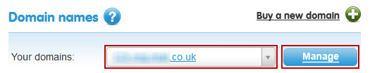 Manage domains button