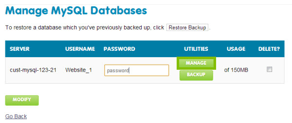 log into your database