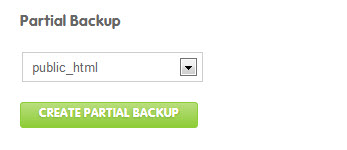 click on create a partial backup