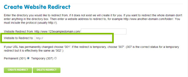 enter the domain name you wish to direct users away from