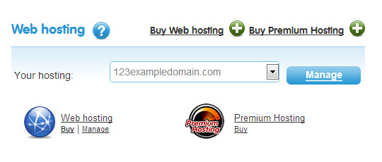 scroll down to the web hosting section
