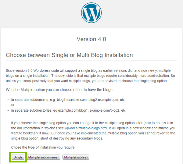 choose single blog installation